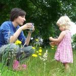 Mother daughter flowers tea