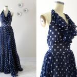 40s Vintage Cotton Voile Polka Dot Dress