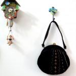 Black Velvet Embroidered Morris Moskowitz purse