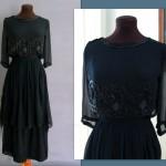 Edwardian Black Silk Dinner Dress