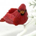 Cardinal Beaded Ornament Clip-on