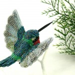 Hummingbird Beaded Ornament Clip-on